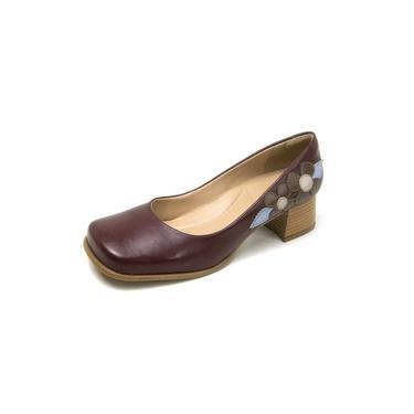 Sapato Estilo Retro Miuzzi Chilli/tabaco/azul Bebe/off White