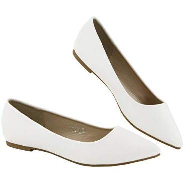 Bella Marie Angie-53 sapatilha feminina clássica bico fino balé sem cadarço, White-pu52, 5.5