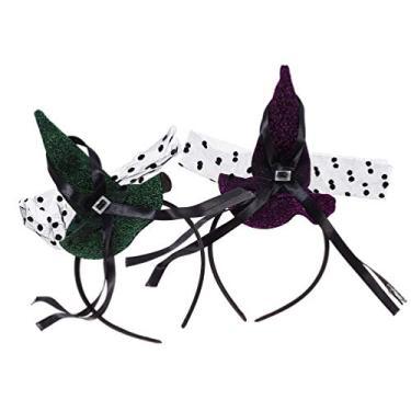 Imagem de FRCOLOR 2 Unidades de Tiaras de Bruxa de Halloween Cartola Faixa de Cabelo Aro de Cabelo para Fantasia de Festa de Halloween Acessórios de Vestir (Rosa Verde)