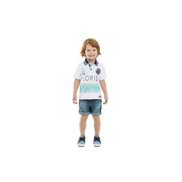 Camiseta Infantil Primeiros Passos Branca Praia Menino Gola Polo Florida - Minore