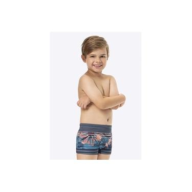 Sunga Boxer Infantil Verão Cinza Floral Malwee