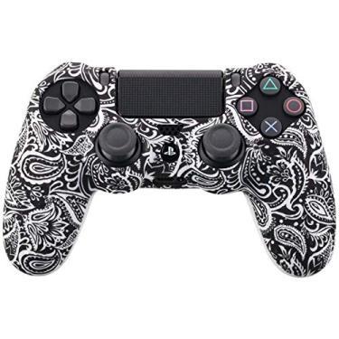 XuBa Capa camuflada com pontos de grafite cravejados de gel de borracha de silicone para Sony PS4 Slim/Pro capa de controle para Dualshock4 Digital preto e branco