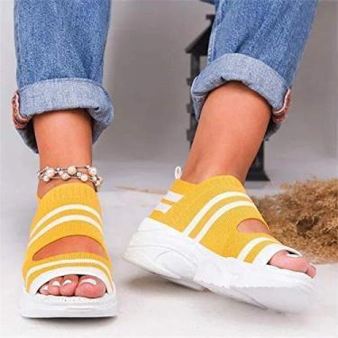 Imagem de FURPO Sandália plataforma casual de tecido anabela confortável bico aberto, sandália feminina leve respirável peep toe casual verão amarelo 35
