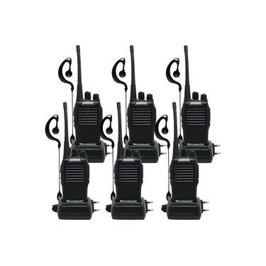 Kit 6 Rádios Comunicador HT Walk Talk UHF 16 Canais Profissional + Fone Baofeng BF-777S Preto Bivolt