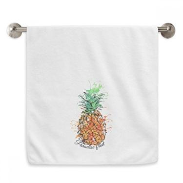 Imagem de DIYthinker Toalha de mão laranja com abacaxi tropical, toalha de mão de algodão macio