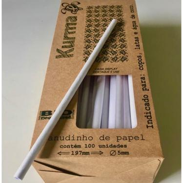 Canudo de Papel Biodegradável Caixa com 100 unid Kurma - Branco