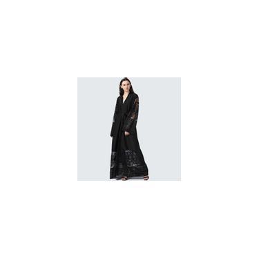 RainmallModa vestido longo bordado Lace costura Cardigan muulmana Vestido Abaya