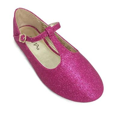 Sapatilha de balé Bella Marie Kids Mary Jane com tiras em T Fuchsia, Fúcsia, 3 Little Kid