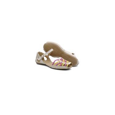 Imagem de Sandália feminina comfort colorida couro QA740 areia casualstock