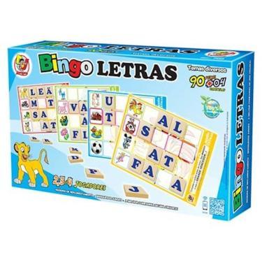ee8374ce36fbb JOGO BINGO LETRAS INFANTIL 90 PEÇAS E LETRAS EM MDF COM 4 CARTELAS EDUCATIVO