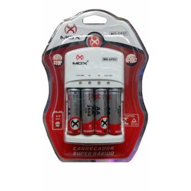 Carregador De Pilhas com 4 Pilhas Aa Mox Mo-cp51
