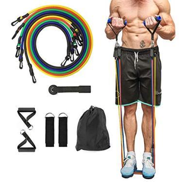 11 Peças Elástico Extensor Exercicio Funcional Até 100 libras Kit Elástico Extensor Treinamento Pilates Exercícios Academia Acessórios