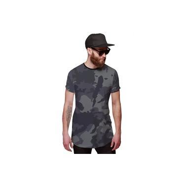 Camiseta Longline Camuflada Grafite Exército