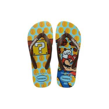 Chinelo Havaianas Infantil Menino Mario Bros Azul