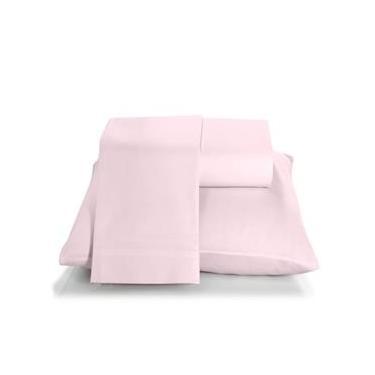 Imagem de Jogo de cama duplo casal 150 fios linha Prata liso na cor rosa - Santista