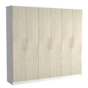372ecbf64 Guarda Roupa Casal 6 Portas 2 Gavetas Foscarini Branco Marfim Areia