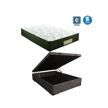 Cama Box casal com baú cinza suede + Colchão Molas ensacada 1,38 x 1,88 x 24 cm
