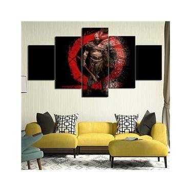 Quadros 5 Peças Jogos Game God Of War Kratos Para Sala