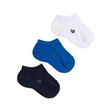 Meias Masculina Soquete Lupo Infantil Kids Kit com 3 Pares de Meias 02270 COR:PRETO BRANCO AZUL;TAMANHO:M