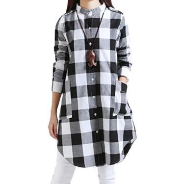 Camisa social feminina Nanquan de manga comprida de algodão e linho xadrez com botões, Branco, Large