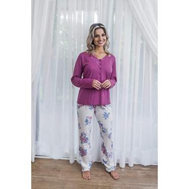 Pijama longo malha de algodáo floral com abertura e renda - 205136 (M)