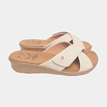 Sandália com Velcro Malu Super Comfort Cléo Feminino Off White 37