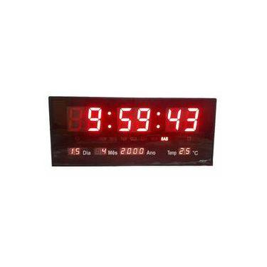 ed0455f4eee Relógio De Parede Led Digital Calendário Temperatura Pequeno
