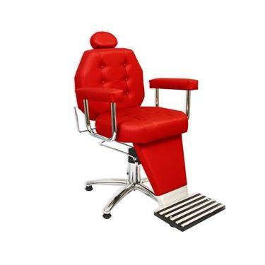 Cadeira de Barbeiro Reclinável Linea com Pentapé e Braço Estofado - Vermelha