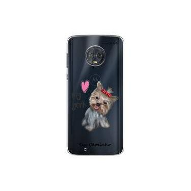 "Capa para Moto G6 Play - I love my York "" nome do seu animal """