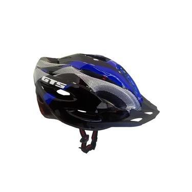 Capacete Bike Gts com Sinalizador de Led Ciclismo Azul G