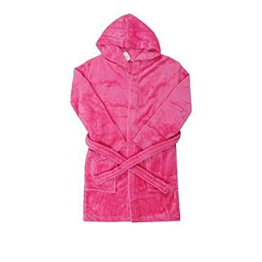 Roupão Com Capuz Flannel Fleece Infantil Menina Pink-p