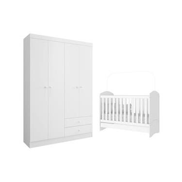 Jogo de Quarto Bebê Infantil Dormitório Completo 2 Peças Roupeiro Guarda Roupa com Berço Mini Cama 3 em 1 Bala de Menta Branco - AM Decor