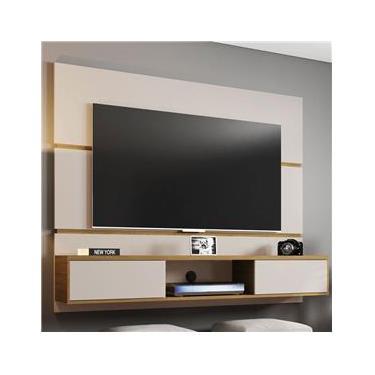 Painel Para Tv 60 Polegadas 2 Portas âmbar Off White/cinamomo - Móveis Bechara