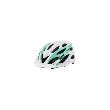 Imagem de Capacete Ciclismo Feminino Luna Fosco Com Led In-mold Tamanho Médio 54/57 cm Branco E Verde Absolute