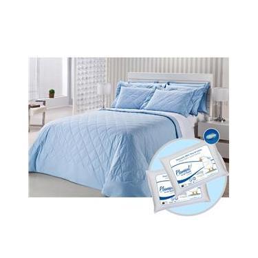 Imagem de Colcha Matelassê Queen com 2 Fronhas Royal Comfort 233 Fios Azul + Jogo Cama Queen Classic 233 Fios + 2 Travesseiros Penas de Ganso - Plumasul