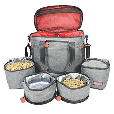 Imagem de KONG Bolsa de viagem para animais de estimação (5 peças) e organizador lavável – Recipientes de armazenamento de alimentos e tigelas dobráveis, bolsos multifuncionais – Ótimo conjunto de viagem de fim de semana para cães
