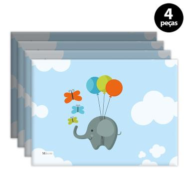 Imagem de Jogo Americano Mdecore Elefante Azul 4pçs