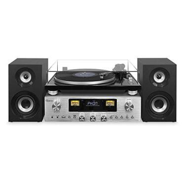 Vitrola Toca discos Retro Vintage Receiver Cd NFC Fm Bluetooth Usb Raveo Concert One Vinil Reproduz e Grava 80W