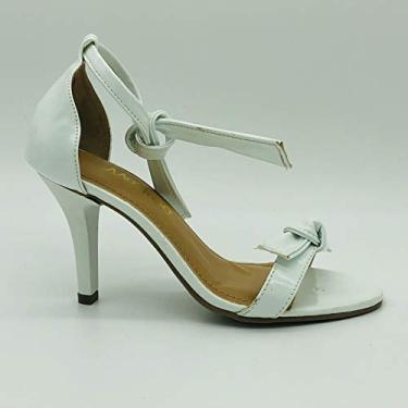 Sandália Sapatos Feminino Salto Alto Fino Conforto Macio Cor:Verniz Branco-A;Tamanho:37