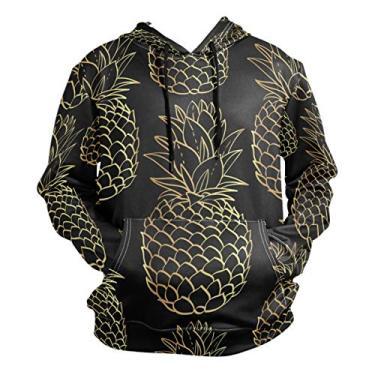 La Random Moletom masculino com capuz e manga comprida com estampa 3D de abacaxi dourado tropical, Multicolorido., L