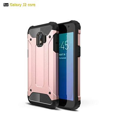Capa para Samsung Galaxy J2 Core 2018 Capa híbrida de camada dupla resistente à prova de choque PC e TPU + 1 protetor de tela 9H película de vidro temperado HD transparente-rosa