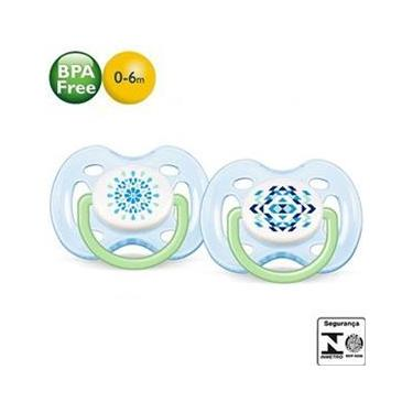 Chupeta Philips Avent Freeflow Contemporânea Ortodôntica - Livre de Bisfenol-A (BPA FREE) - Fase 1 - c/2 Azul / 0-6m