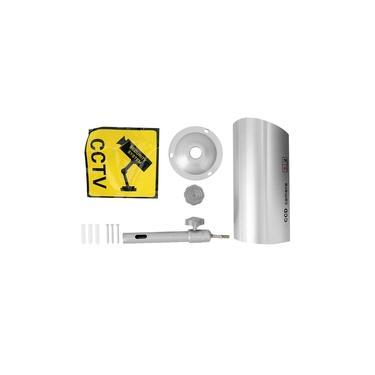 Dummy Fake Camera 360° Bracket Bullet Shape LED Simulation Security Monitor Camera Silver