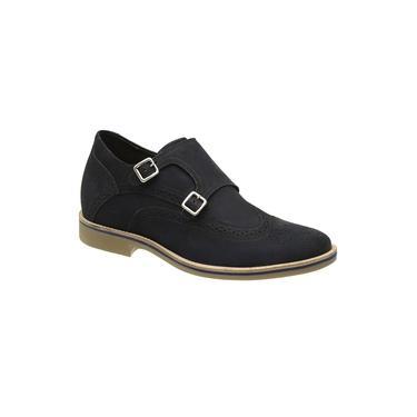 Sapato Rafarillo Monk Strap Oxford Aumenta Altura 7cm Azul 7113