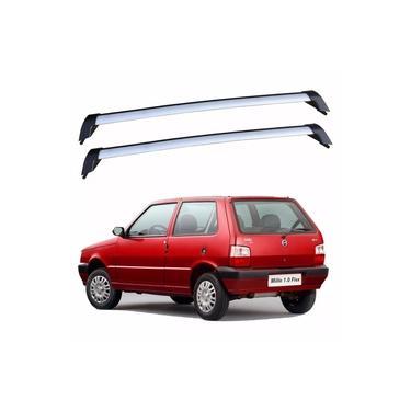 Rack De Teto Fiat Uno 2 Portas 1988 Até 2013 Bagageiro Eqmax Wave Prata