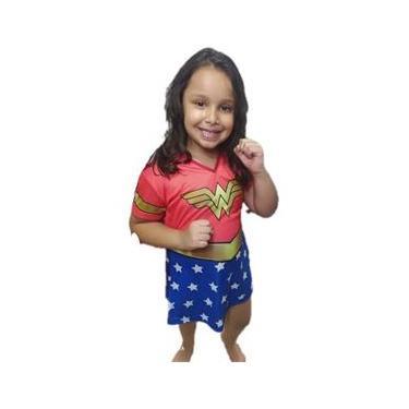 Imagem de Fantasia Infantil Mulher Maravilha Sem Acessórios Com Capa