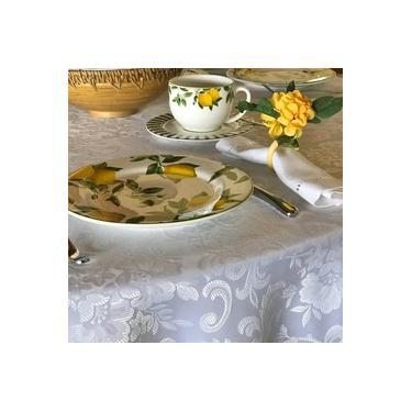 Imagem de Toalha de Mesa Retangular 6 Lugares Donna Aug Arabesco Off White