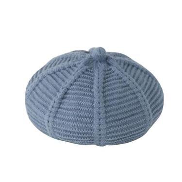 KESYOO Boné de tecelagem de lã azul celeste crianças meninas boinas chapéu de lã macia bebê cor sólida gorro para outono inverno