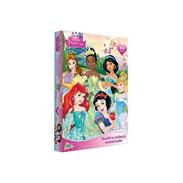 Imagem de Quebra-Cabeça Encapado Princesas Disney Metalizado 100 Peças - Jak