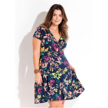 87cb10628 Vestido Transpassado Floral Plus Size Quintess QUINTESS
